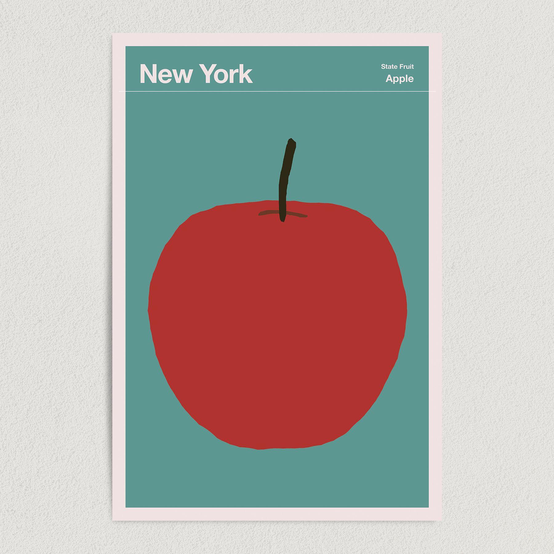 New York State Fruit Apple Illustration Art Print Poster 12″ x 18″ Wall Art  T2136