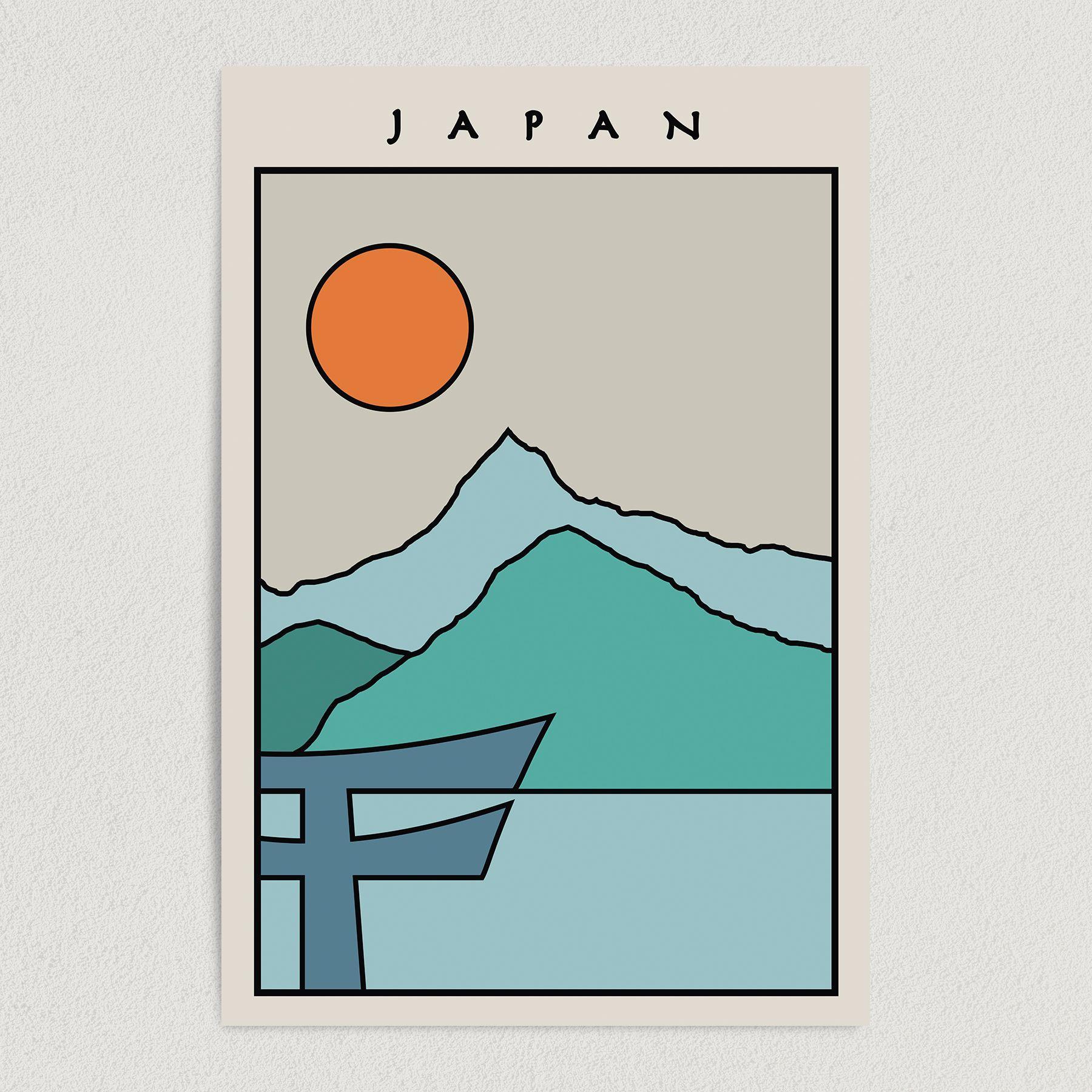 Japan Minimal Travel Art Print Poster 12″ x 18″ Wall Art T2500