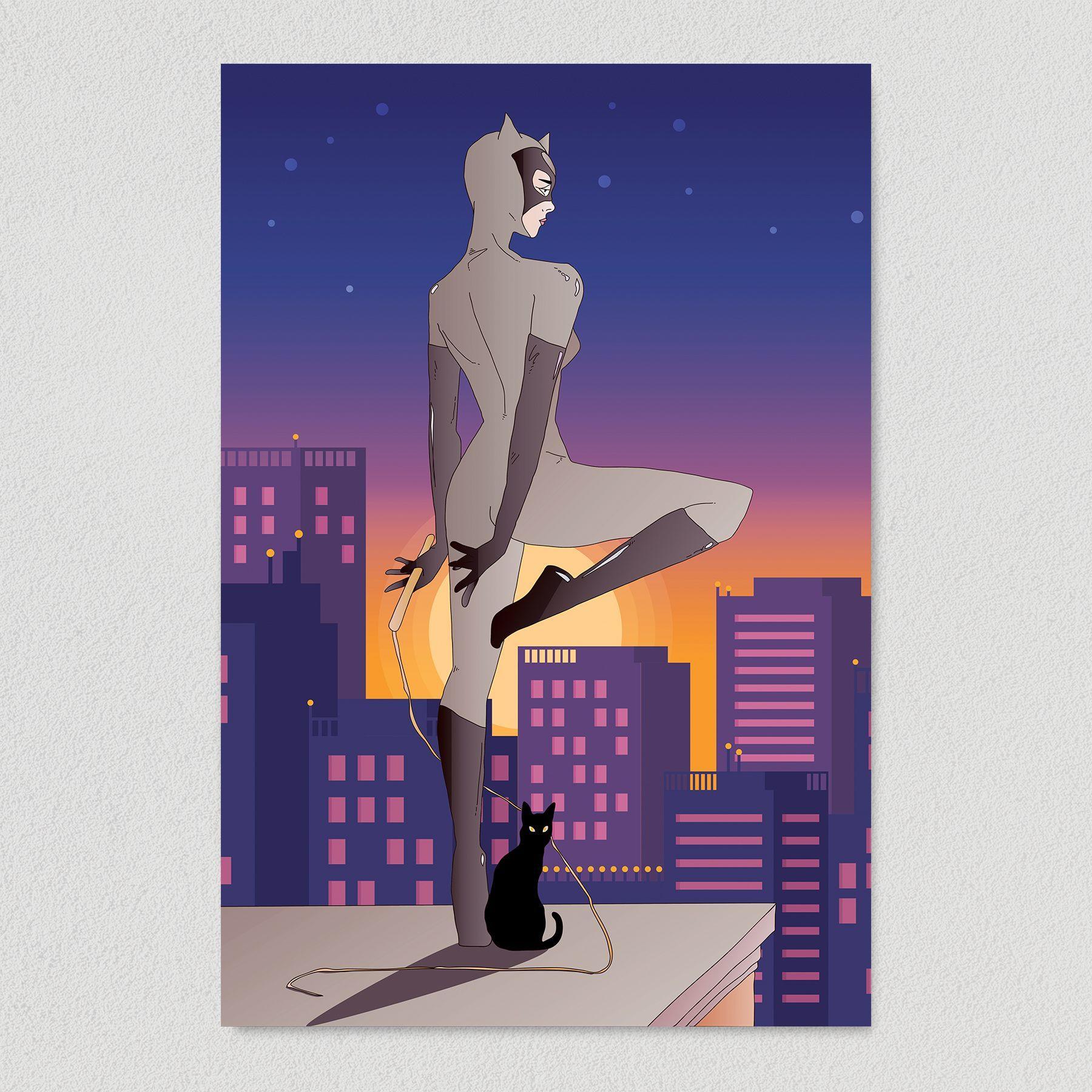 Catwoman in Gotham Art Print Poster 12″ x 18″ Wall Art TVC1301