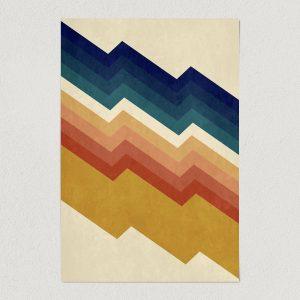 "Chevron Mountain Vintage Art Print Poster 12"" x 18"" Wall Art V1200"
