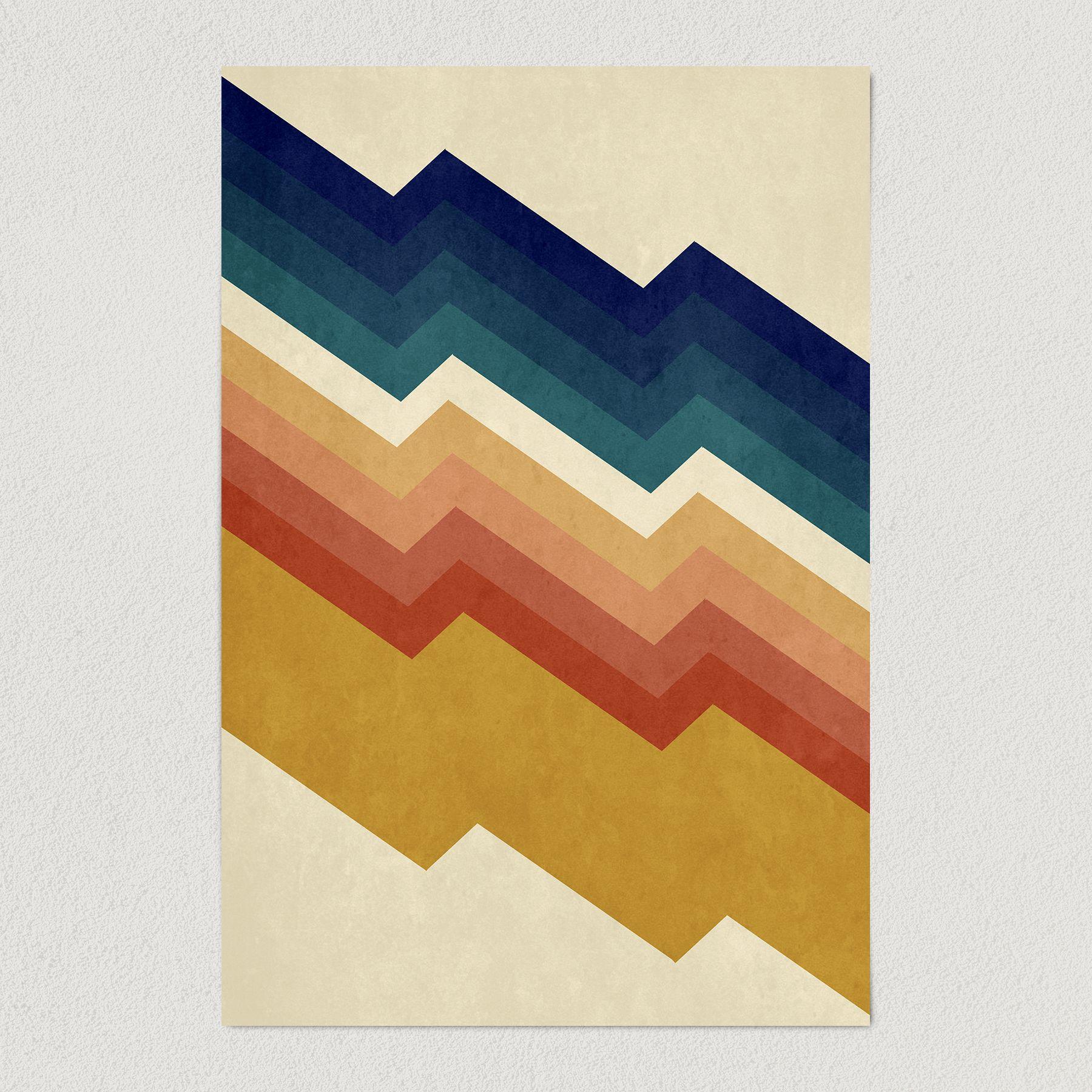 Chevron Mountain Vintage Art Print Poster 12″ x 18″ Wall Art V1200