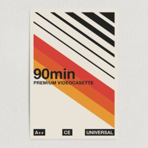 "90min Premium Videocassette Vintage Art Print Poster 12"" x 18"" Wall Art Template V2199"