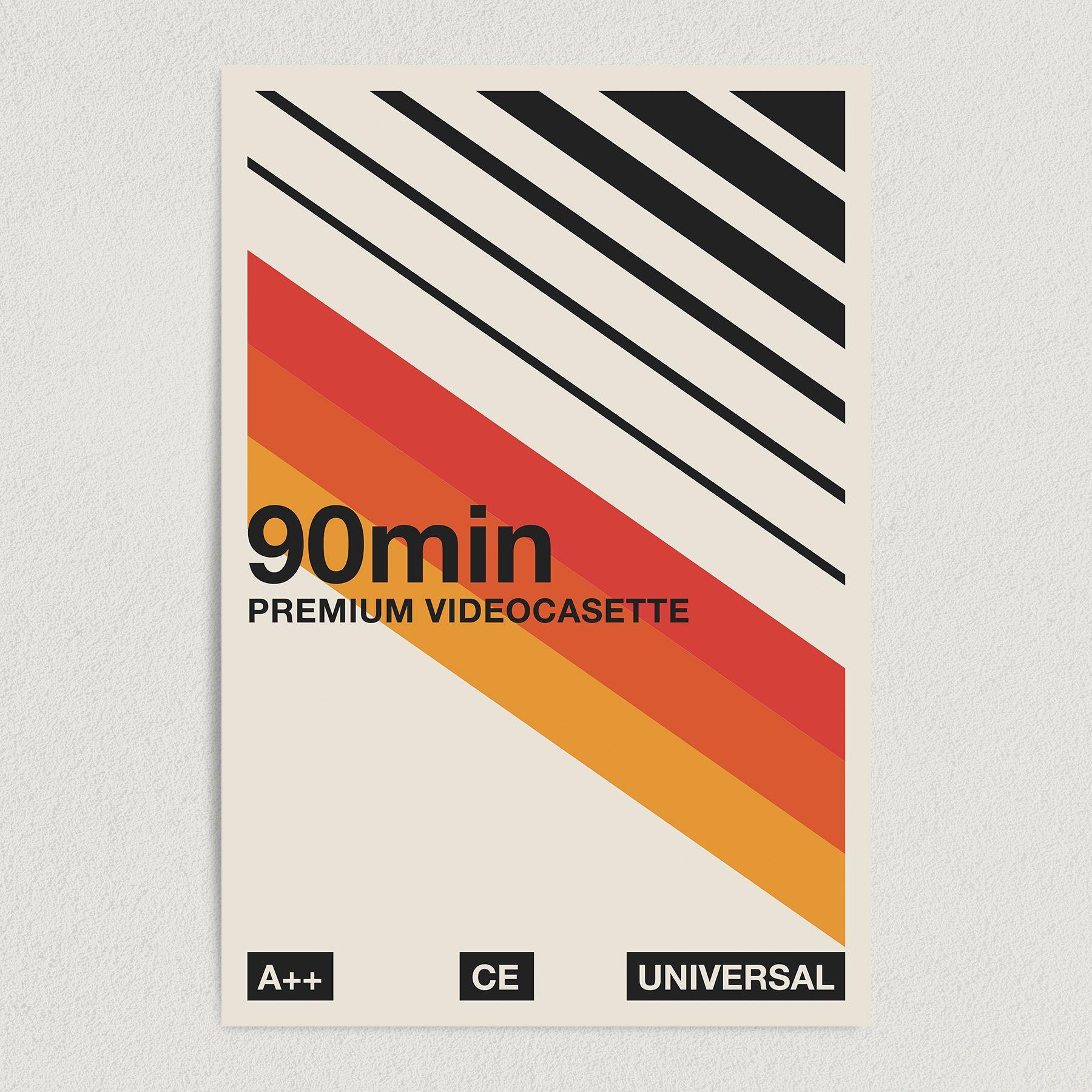 90min Premium Videocassette Vintage Art Print Poster 12″ x 18″ Wall Art Template V2199