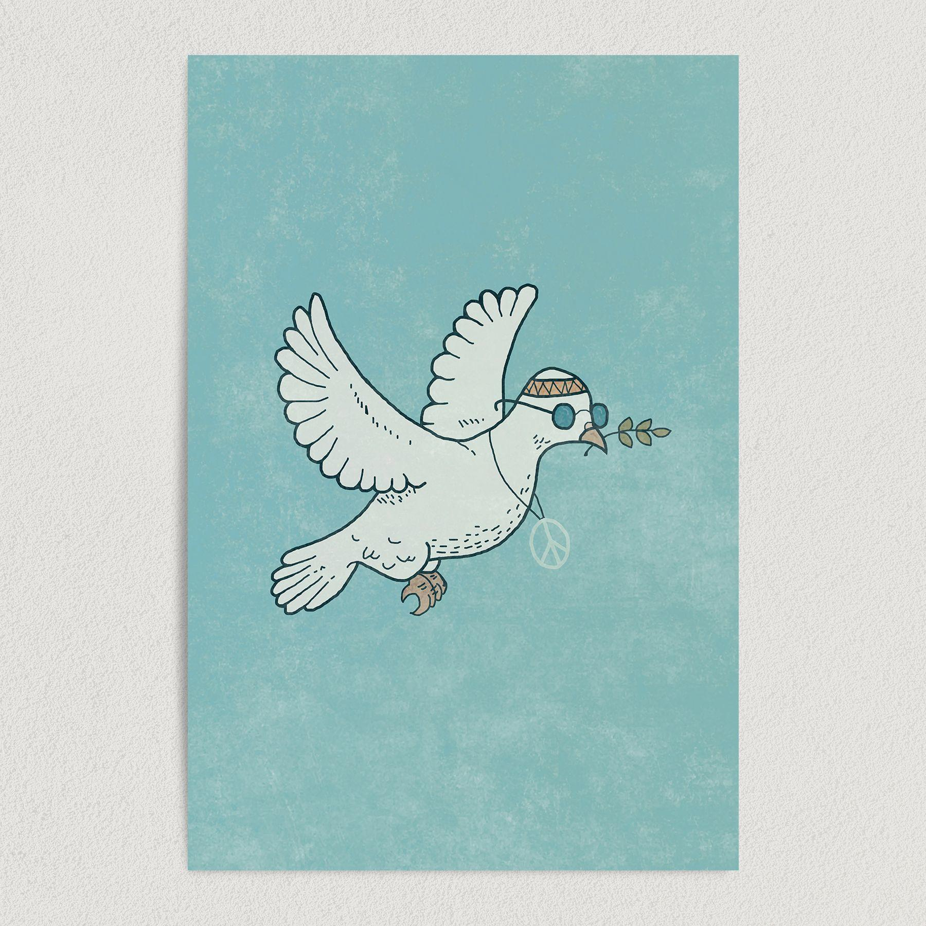 Dove of Peace Vintage Hippie Art Print Poster 12″ x 18″ Wall Art V2900