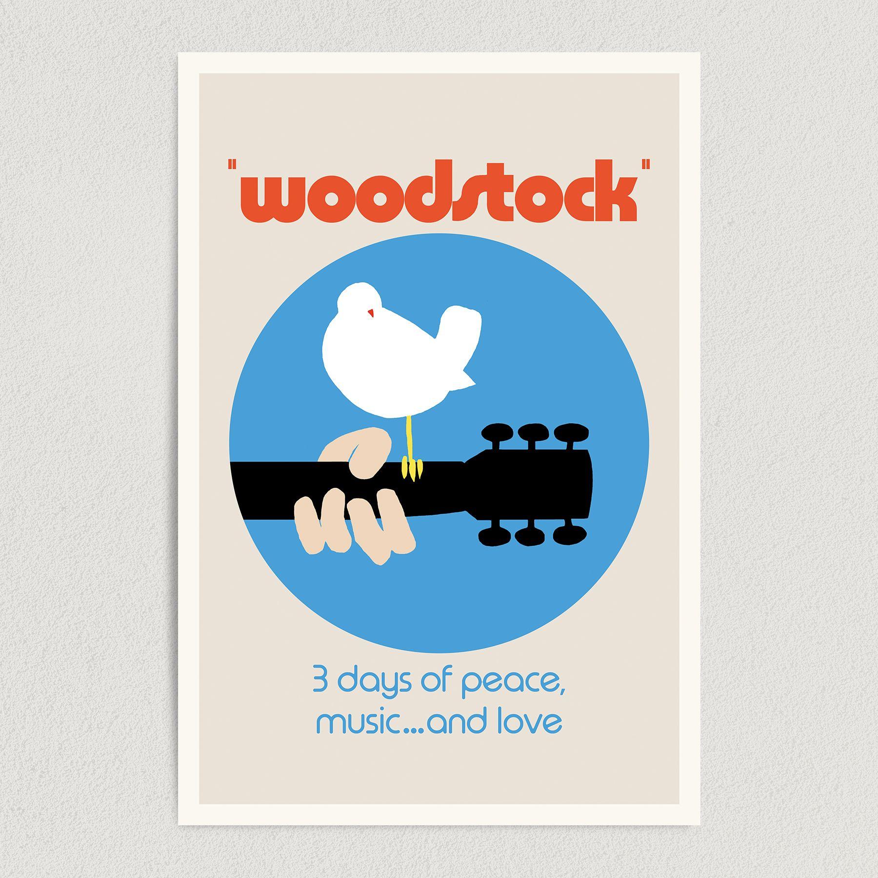Woodstock Music Festival Vintage Art Print Poster 12″ x 18″ Wall Art VM2099