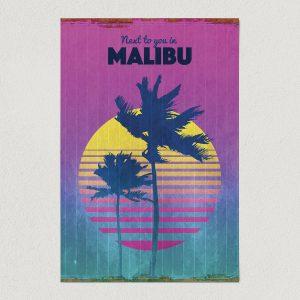 "Next To You In Malibu California Art Print Poster 12"" x 18"" Wall Art VT1110"