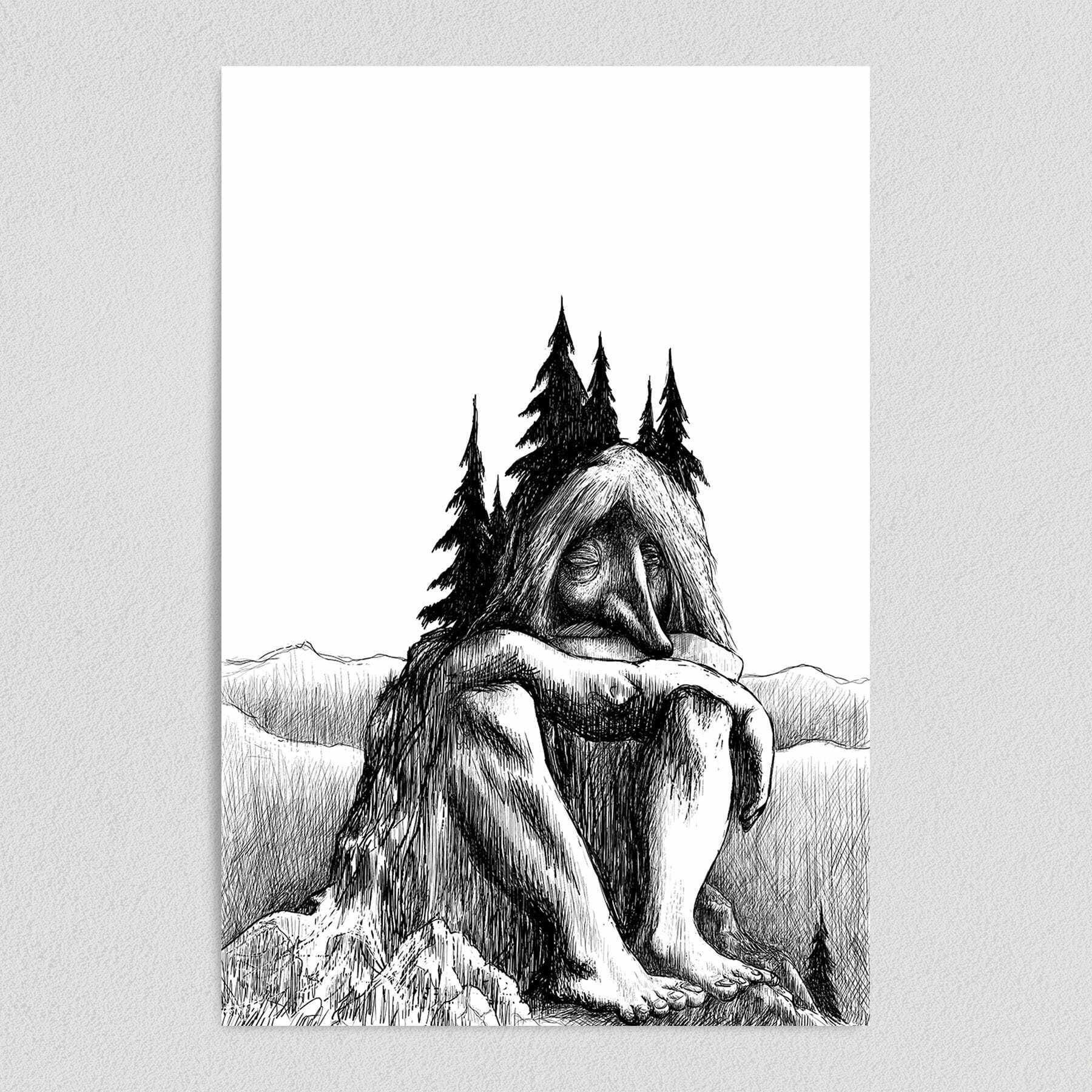 Troll Becoming A Mountain Art Print Poster 12″ x 18″ Wall Art I1060