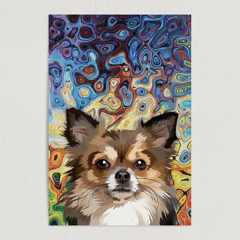 Pomeranian Tie Dye Art Print Poster 12″ x 18″ Wall Art A1001