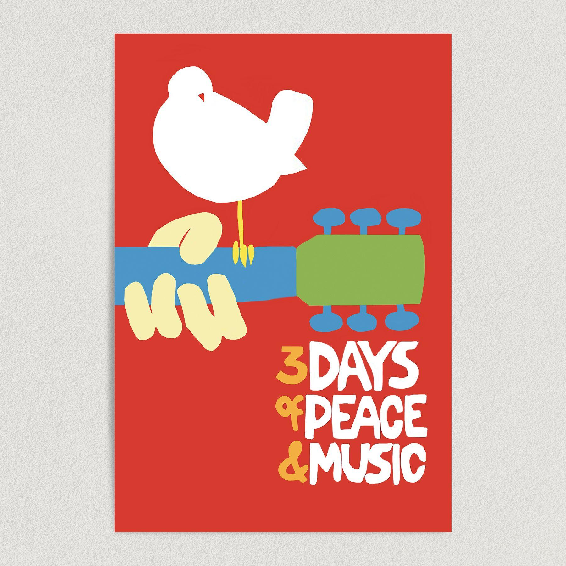 3 Days of Peace and Music Woodstock Festival Art Print Poster 12″ x 18″ Wall Art M1005
