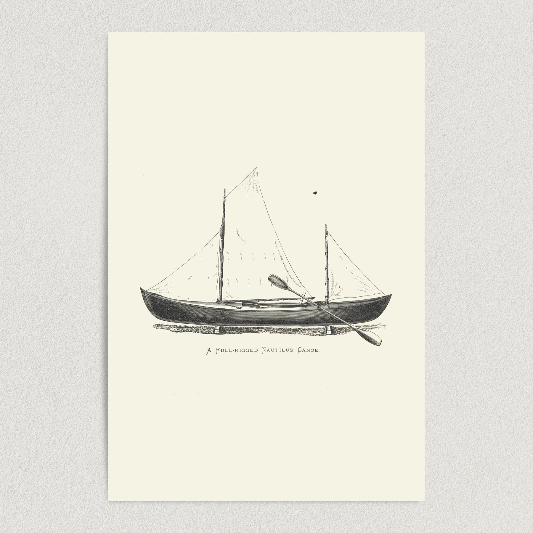 A Fulled Rigged Nautilus Canoe Art Print Poster T1005