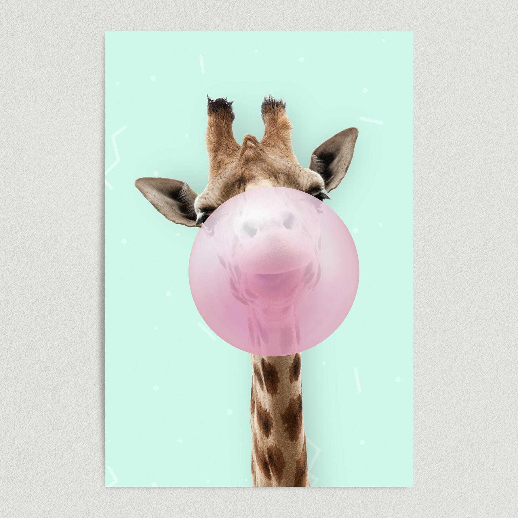 Giraffe Blows Bubble Abstract Art Print Poster 12″ x 18″ Wall Art A1065