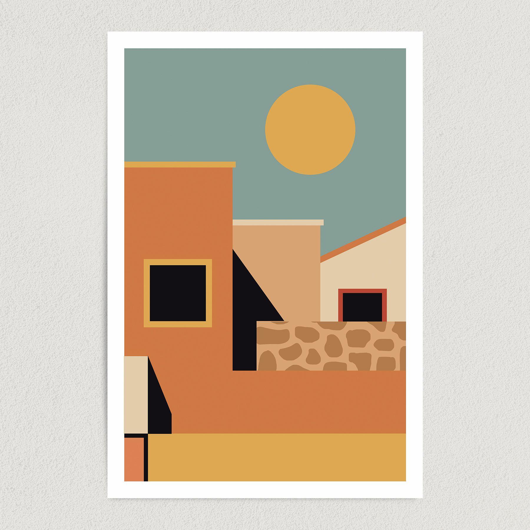 Tropical Summer Landscape Art Print Poster 12″ x 18″ Wall Art AA3345
