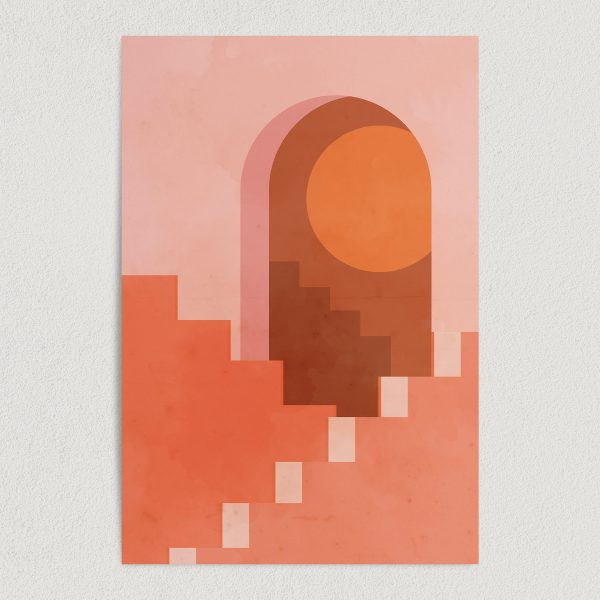 abstract sun minimal architecture art print poster featured image