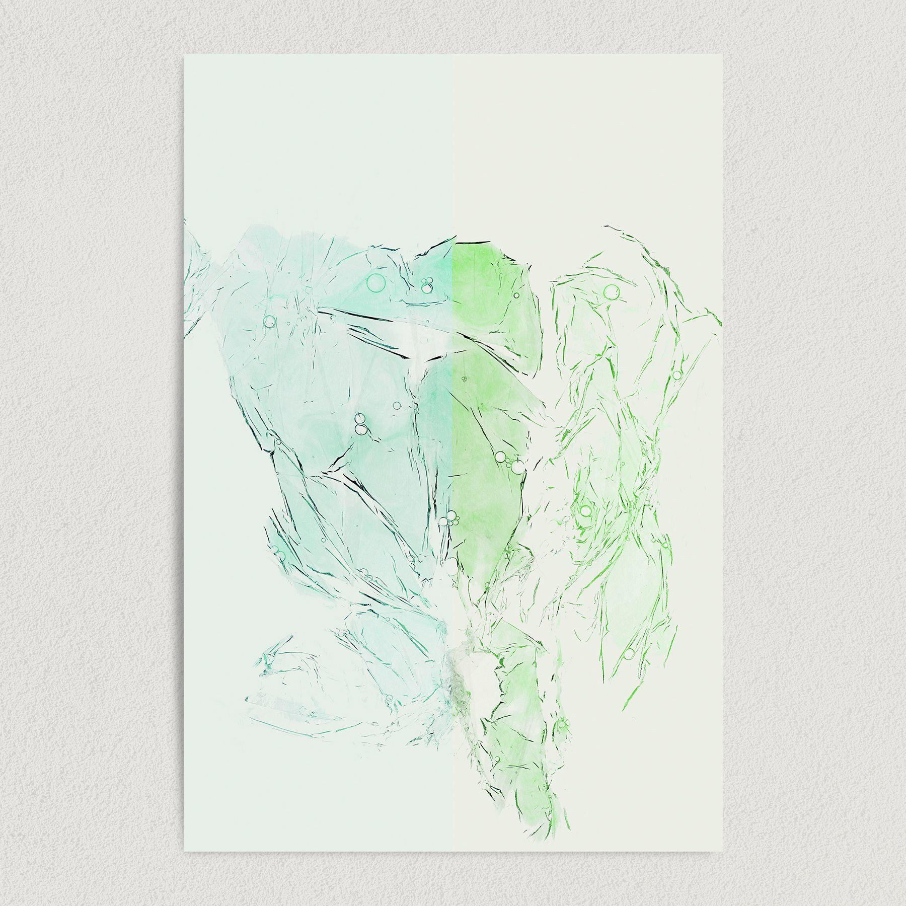 Abstract Blue and Green Glass Snow Object Art Print Poster A1008