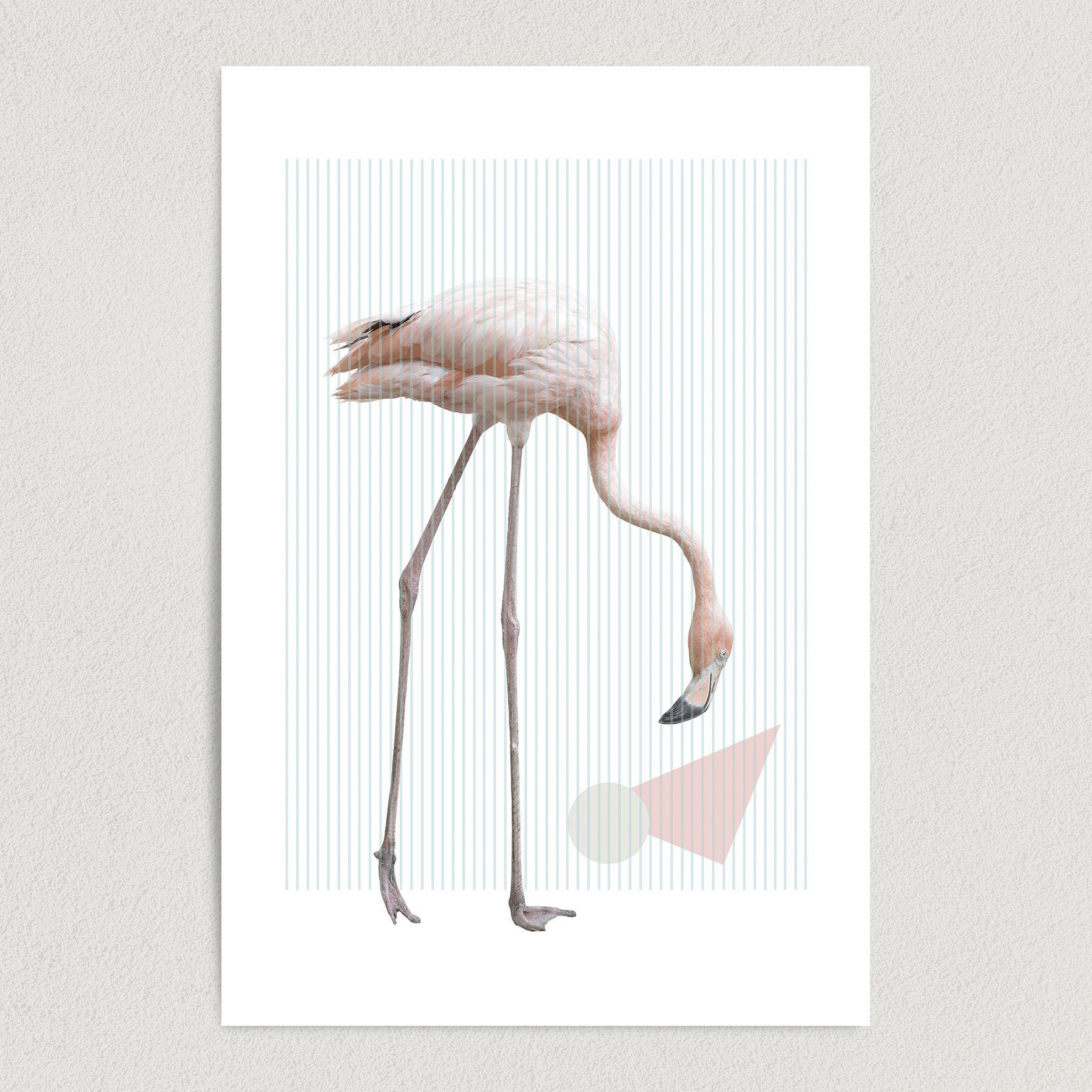 Abstract Flamingo Art Print Poster 12″ x 18″ Wall Art AA1000