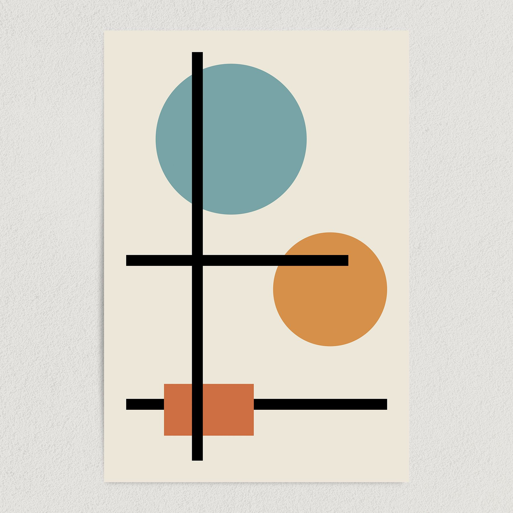 Geometric Bauhaus Abstract Art Print Poster 12″ x 18″ Wall Art AI3340