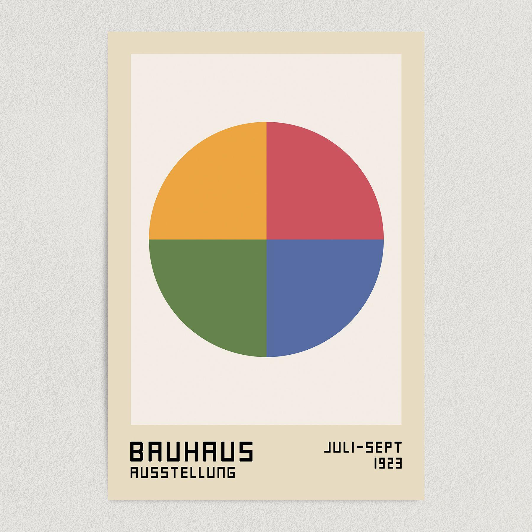 Bauhaus Circle Art Print Poster 12″ x 18″ Wall Art AI3341-B