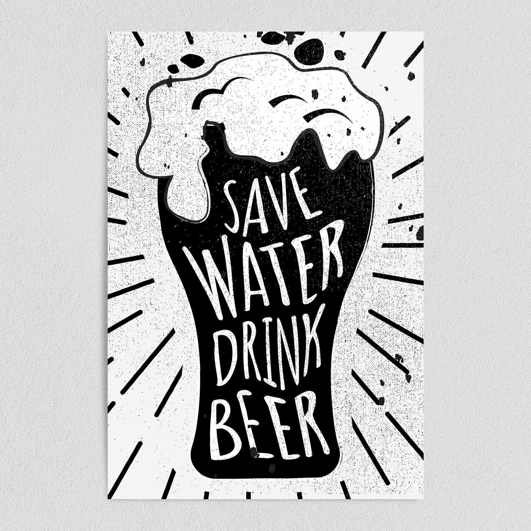 Save Water Drink Beer Retro Art Print Poster 12″ x 18″ Wall Art AL1010