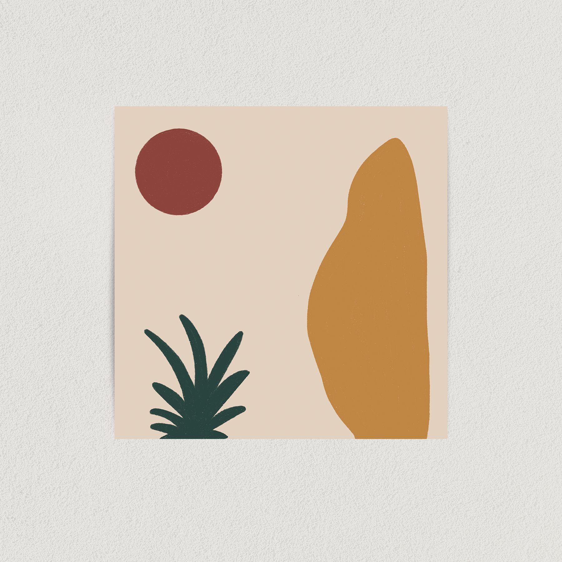 Abstract Desert Scene Art Print Poster 12″ x 12″ Wall Art An0021