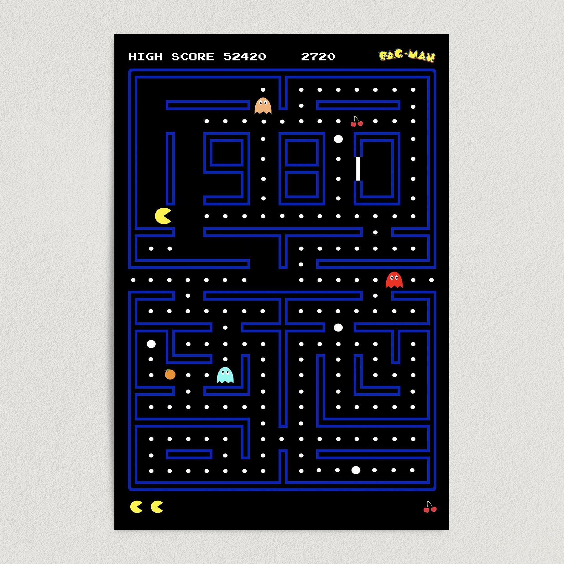 Pac-Man Retro Arcade Art Print Poster 12″ x 18″ Wall Art AR1000