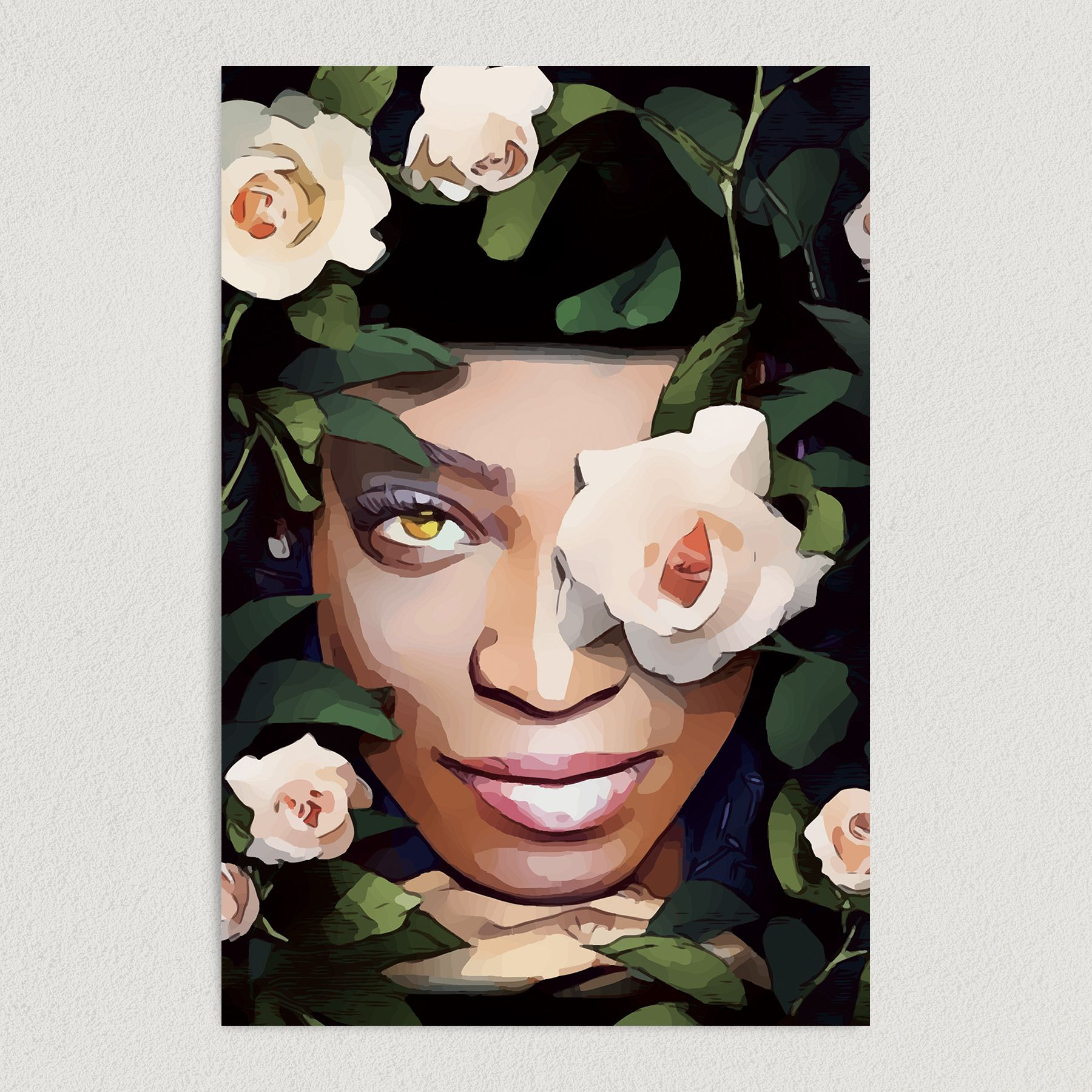 Women's Empowerment Face In Flowers Art Print Poster PC1000