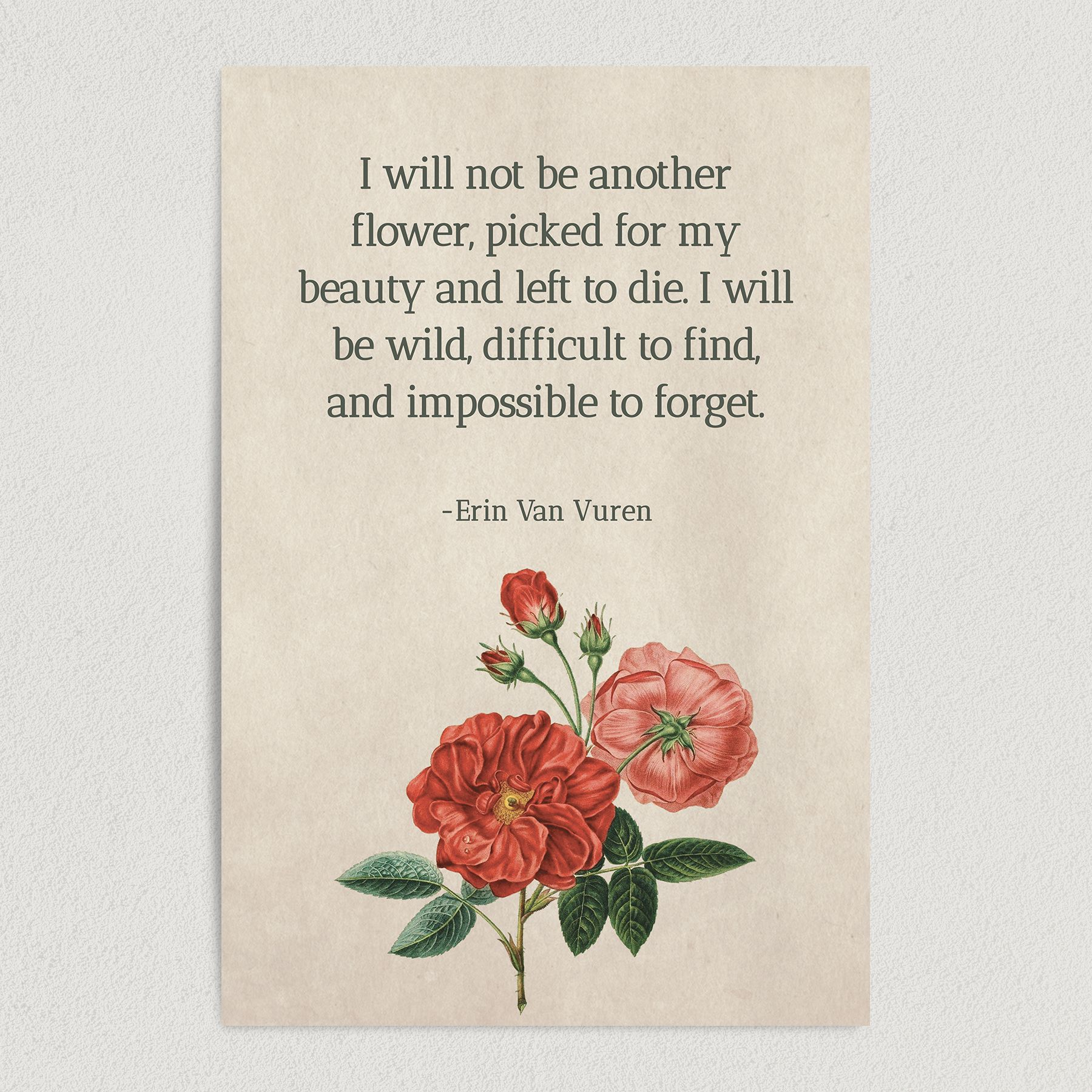 "Erin Van Vuren ""Wild"" Inspirational Quote Art Print Poster 12″ x 18″ Wall Art Q1000"