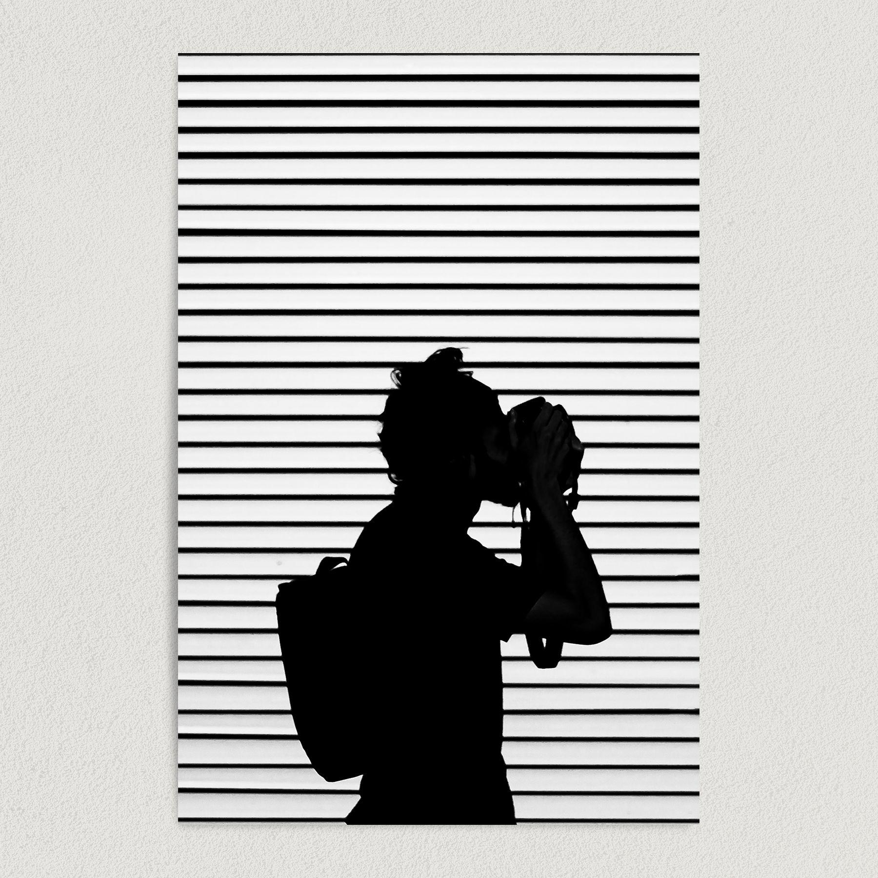 Woman Photographer In Striped Background Art Print Poster PH1000