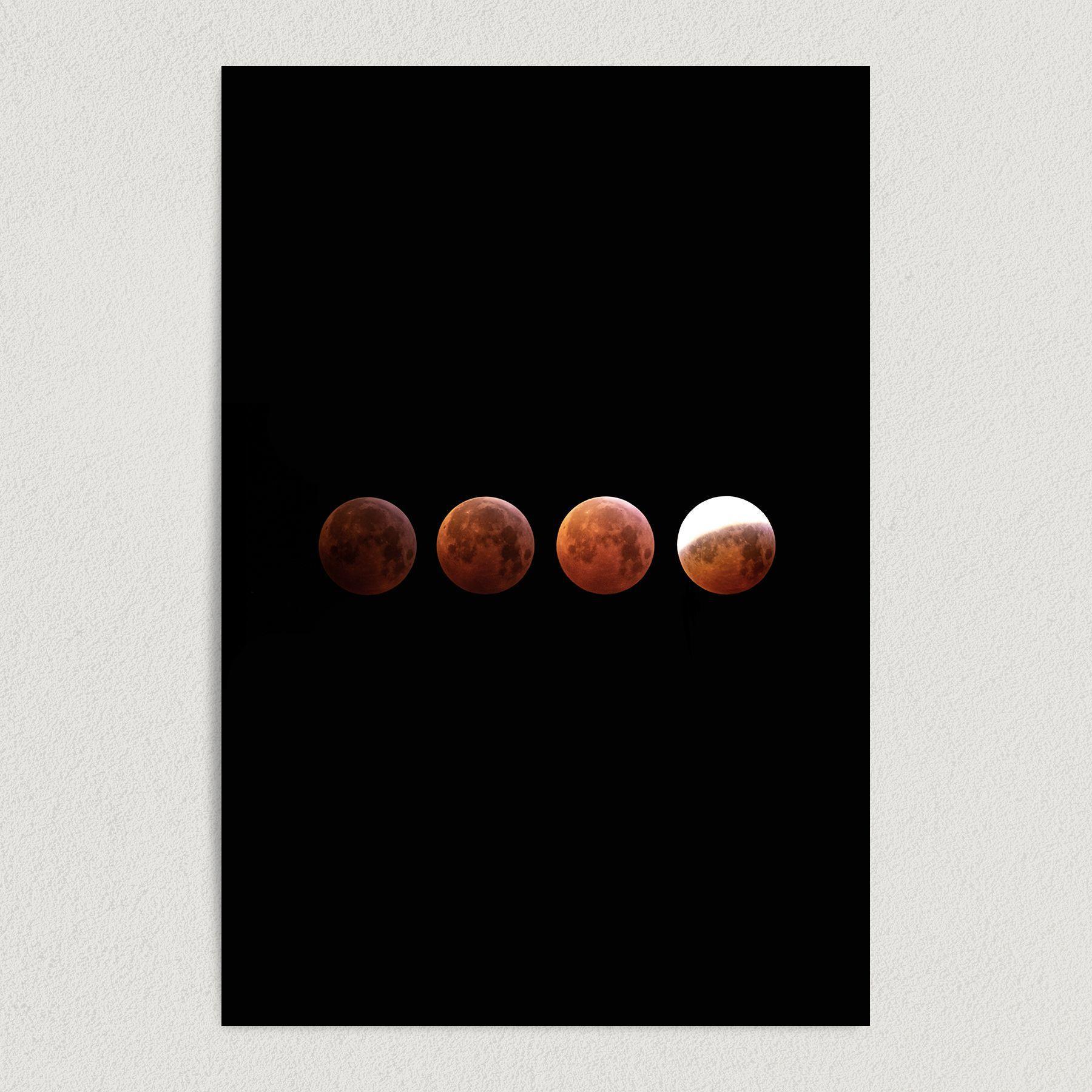 Blood Moon Lunar Eclipse Moon Space Art Print Poster S1008