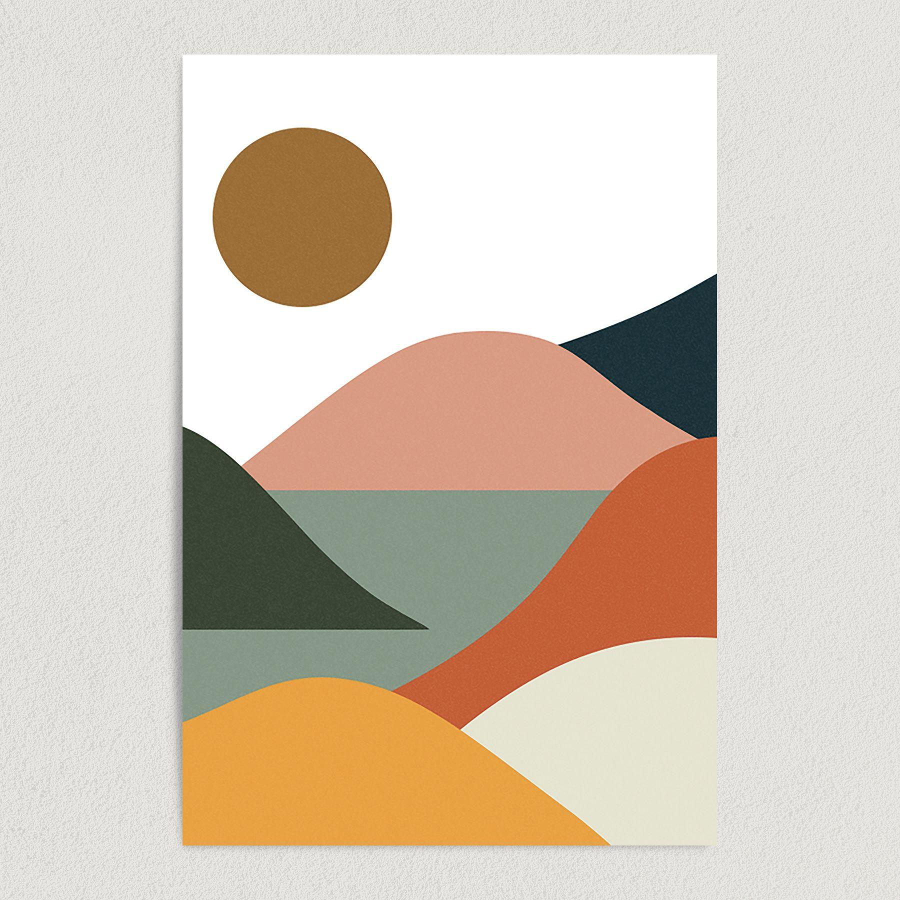 Abstract Mountains of Color Art Print Poster A1011