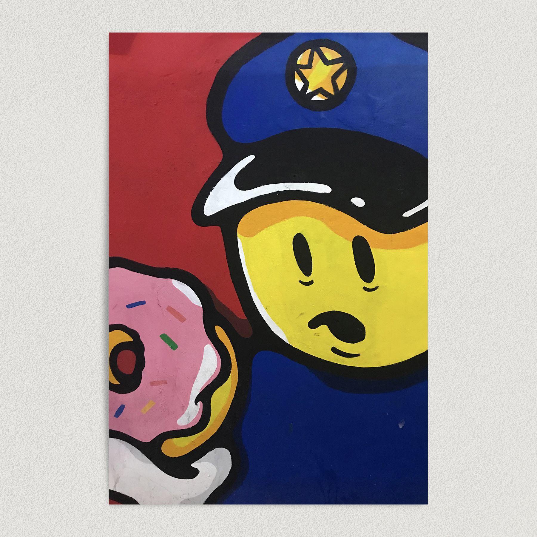 Cop Debates Eating A Donut Art Print Poster G1004