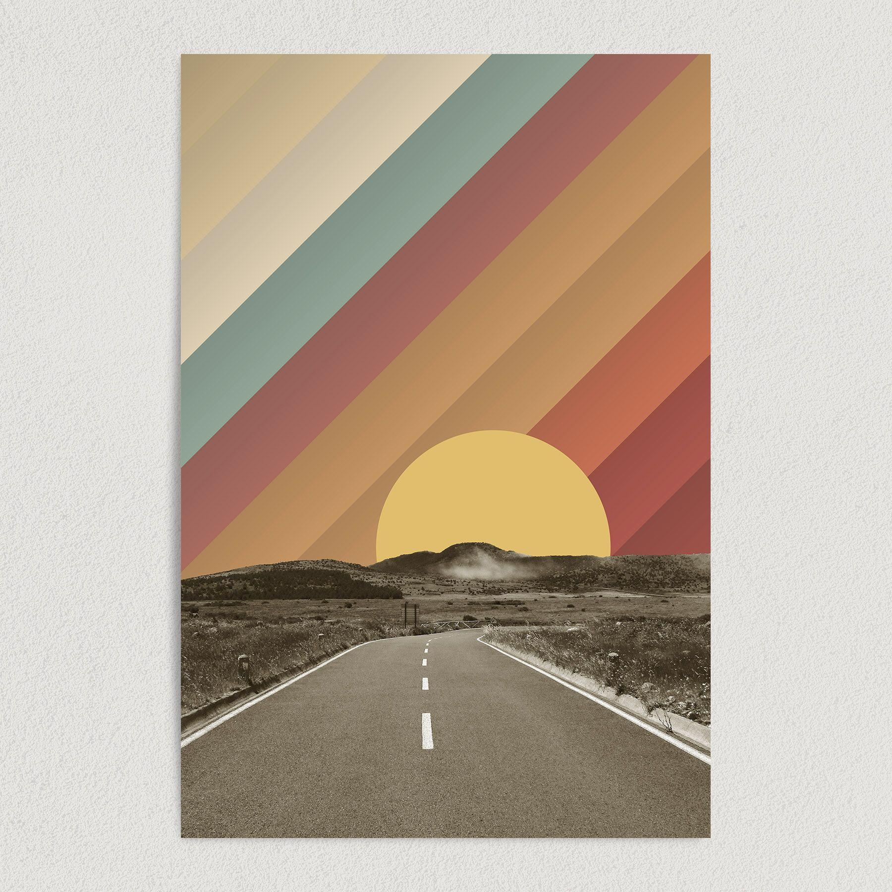 Country Road Surrealism Art Print Poster 12″ x 18″ Wall Art A1004