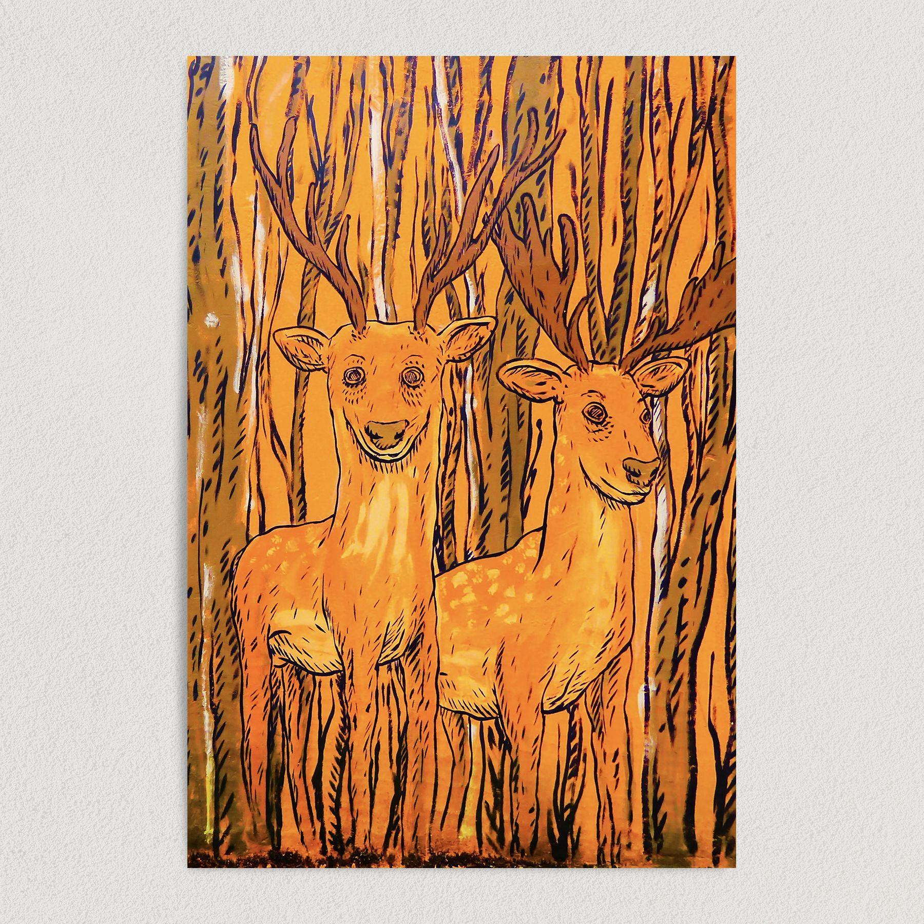 Deers Smiling For the Camera Art Print Poster N1009
