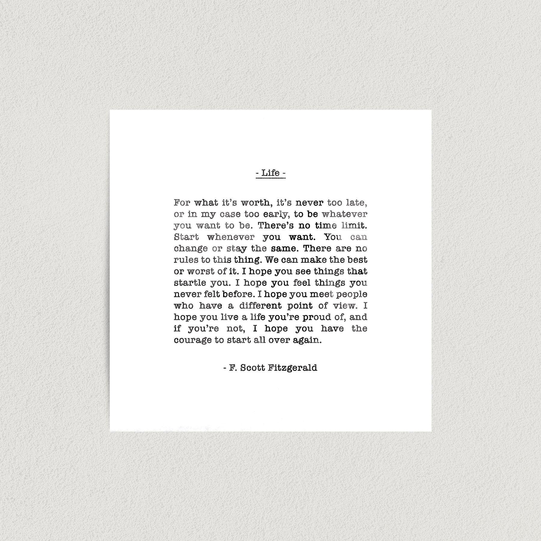 F Scott Fitzgerald Life Quote Art Print Poster 12″ x 12″ Wall Art FQ3139