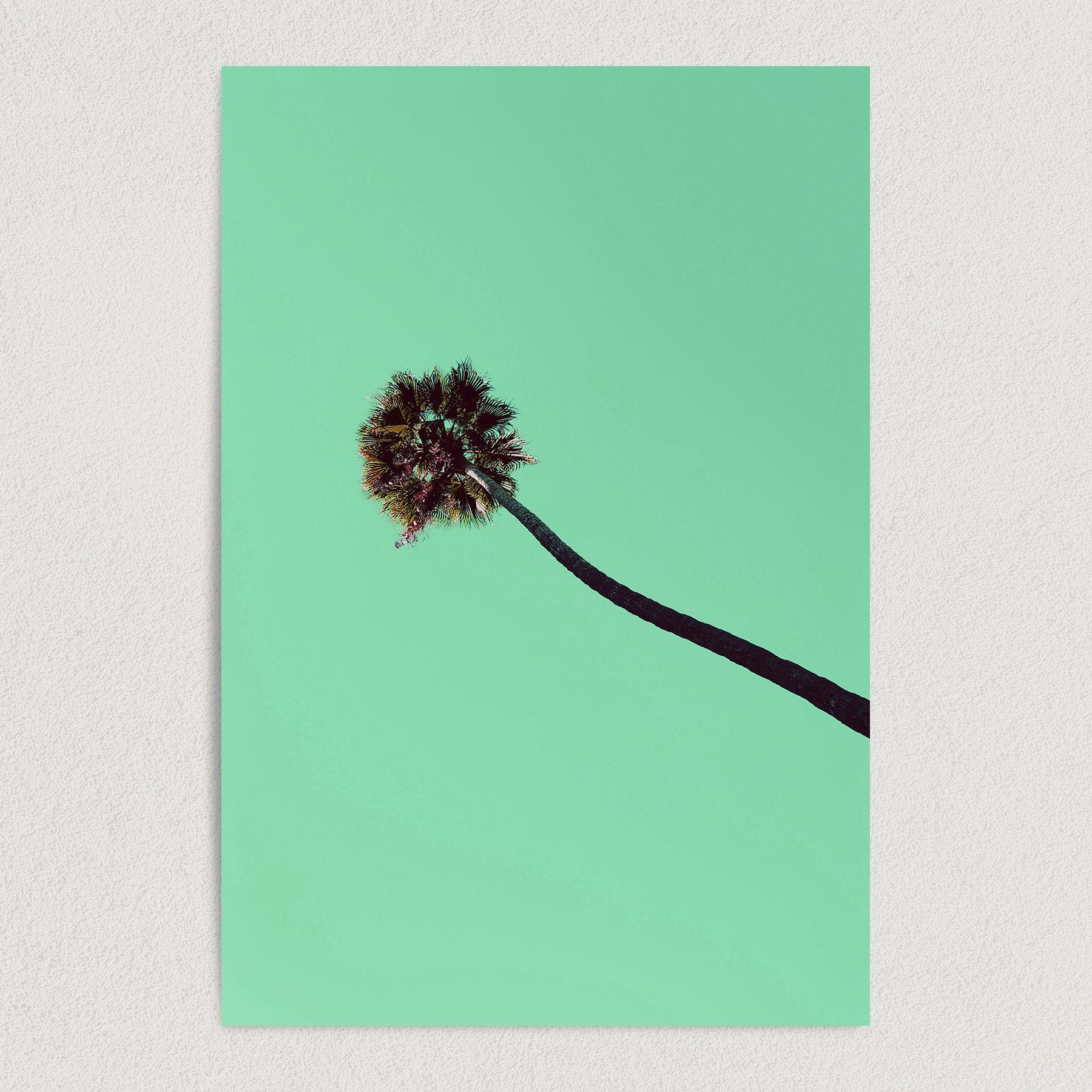 Green Palm Tree Los Angeles Retro 90's Art Print Poster R1004