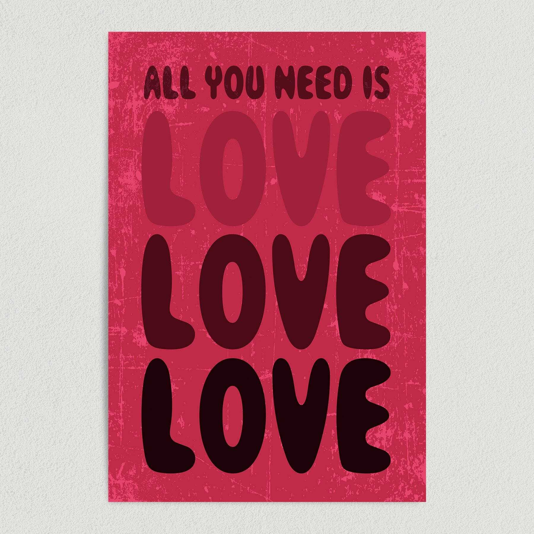 All You Need Is Love The Beatles Famous Lyrics Art Print Poster H1010