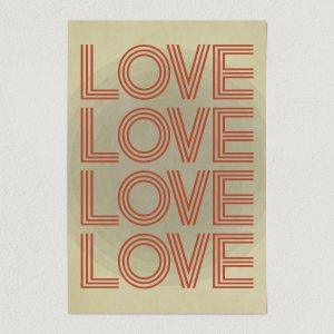 vintage four love art print poster 12x18 wall art template