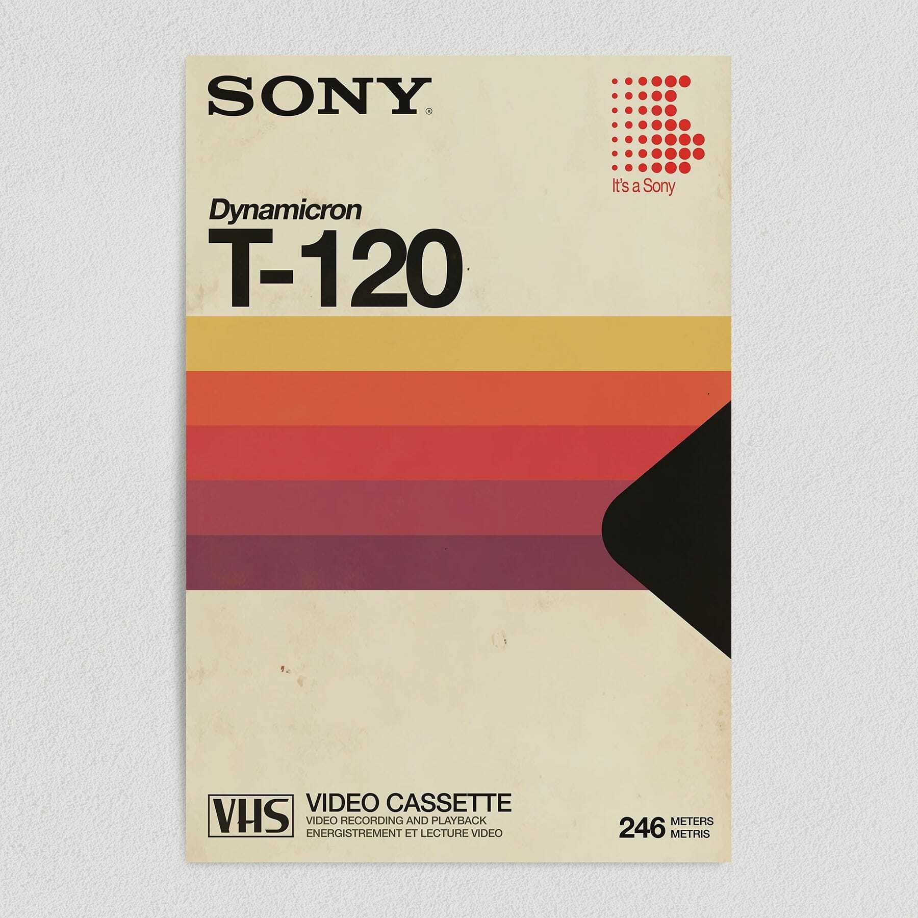 Sony Vintage VHS Box Art Print Poster 12″ x 18″ Wall Art M1021