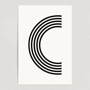 letter c modern typography art print poster 12x18 wall art template
