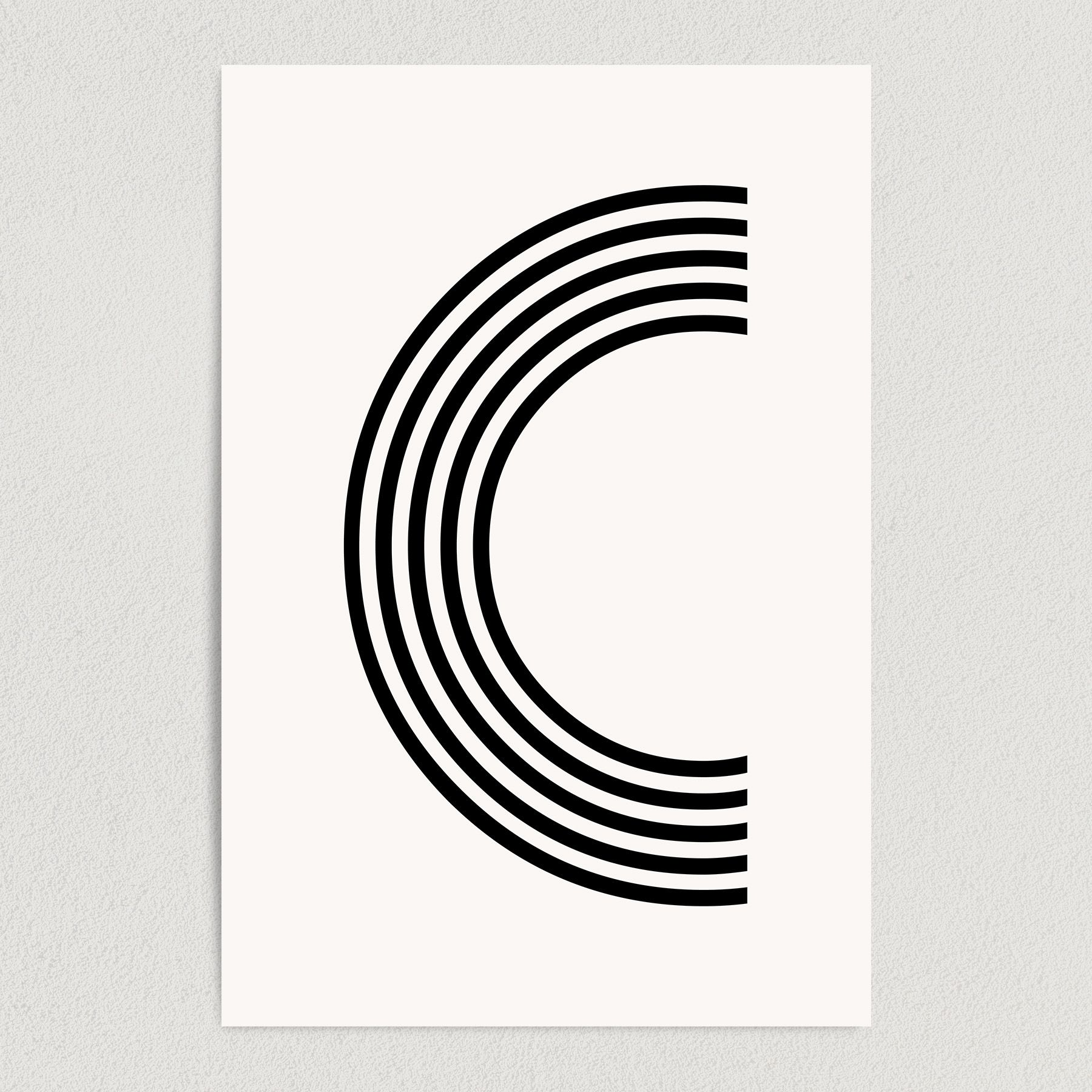 Letter C Modern Typography Art Print Poster 12″ x 18″ Wall Art M2162