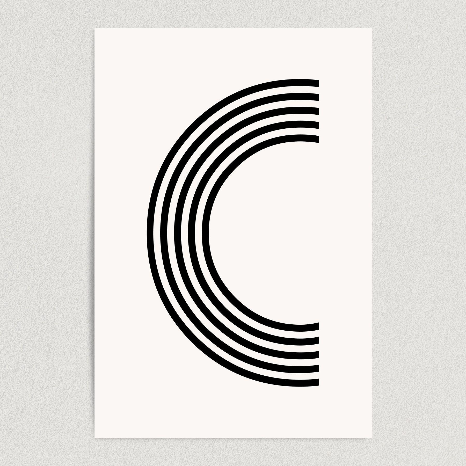 Letter C Modern Typography Art Print Poster 12″ x 18″ Wall Art M2162