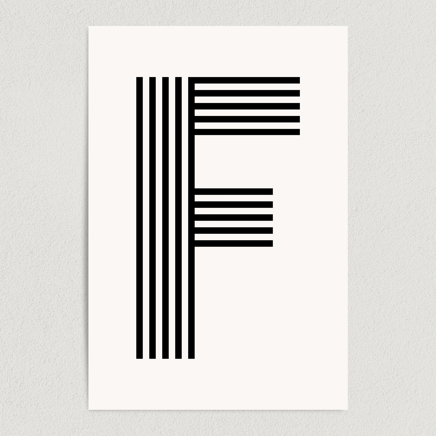 Letter F Modern Typography Art Print Poster 12″ x 18″ Wall Art M2165