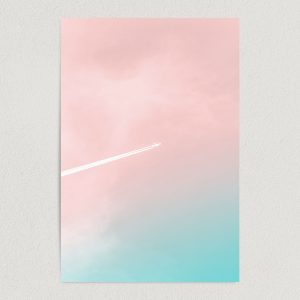 gradient sky airplane art print poster featured image