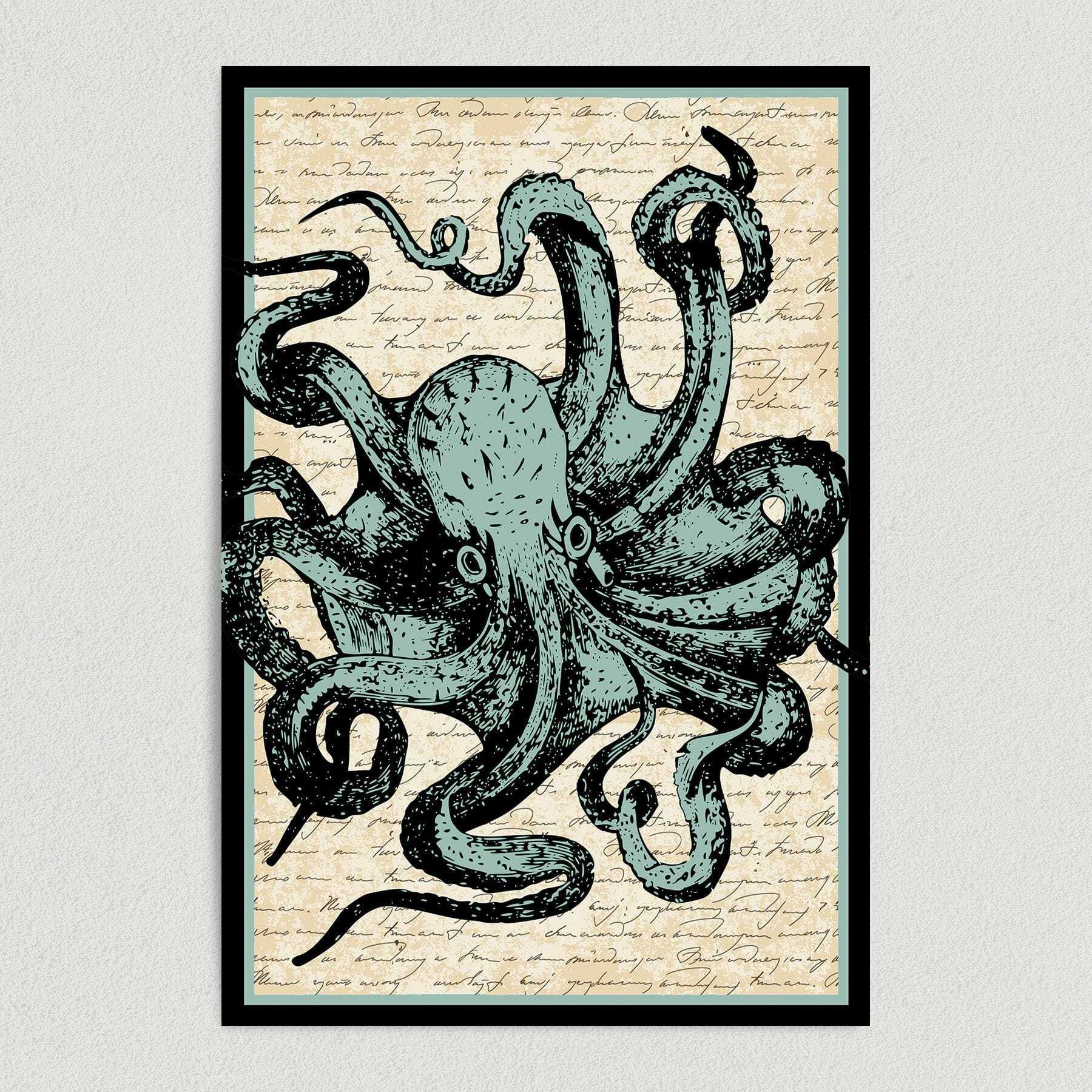 Octopus Nautical Text Art Print Poster 12″ x 18″ Wall Art N1012