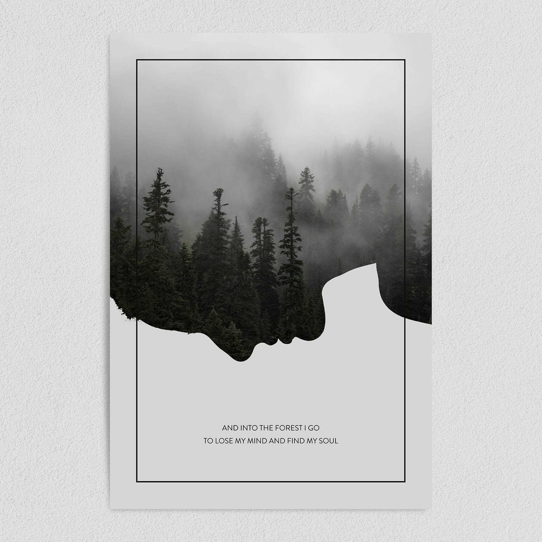 Into the Forest Nature Art Print Poster 12″ x 18″ Wall Art N1070