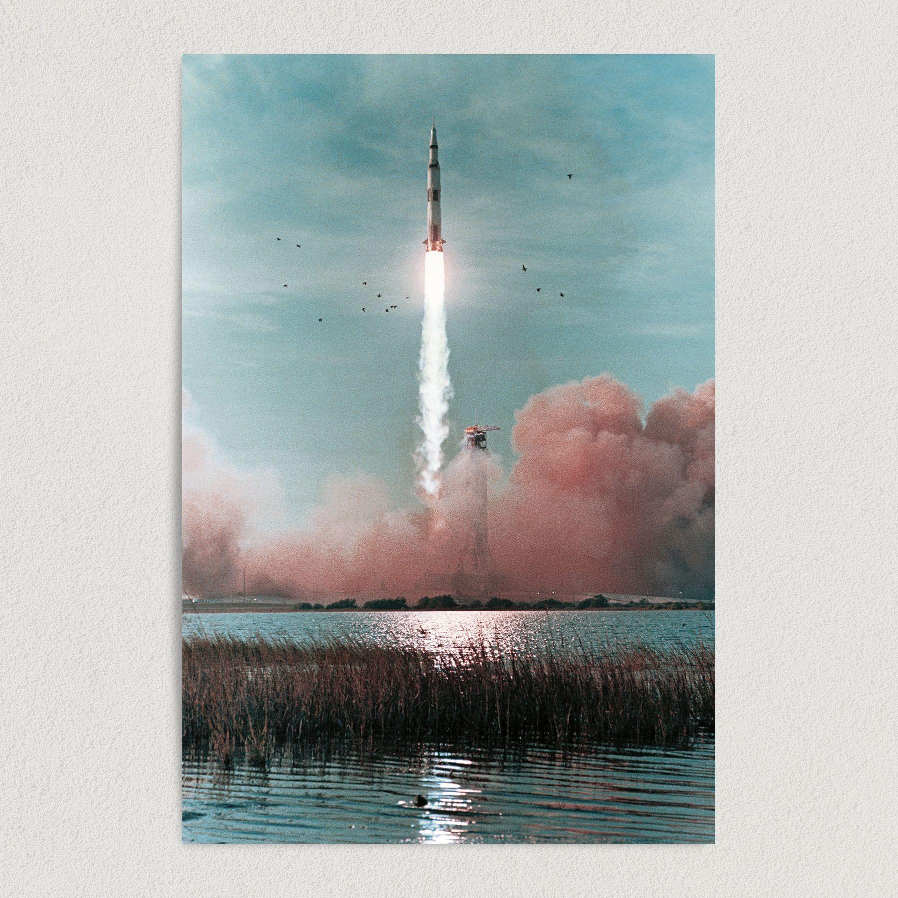 Vintage Space Travel Rocket Ship NASA Art Print Poster 12″ x 18″ Wall Art S1003