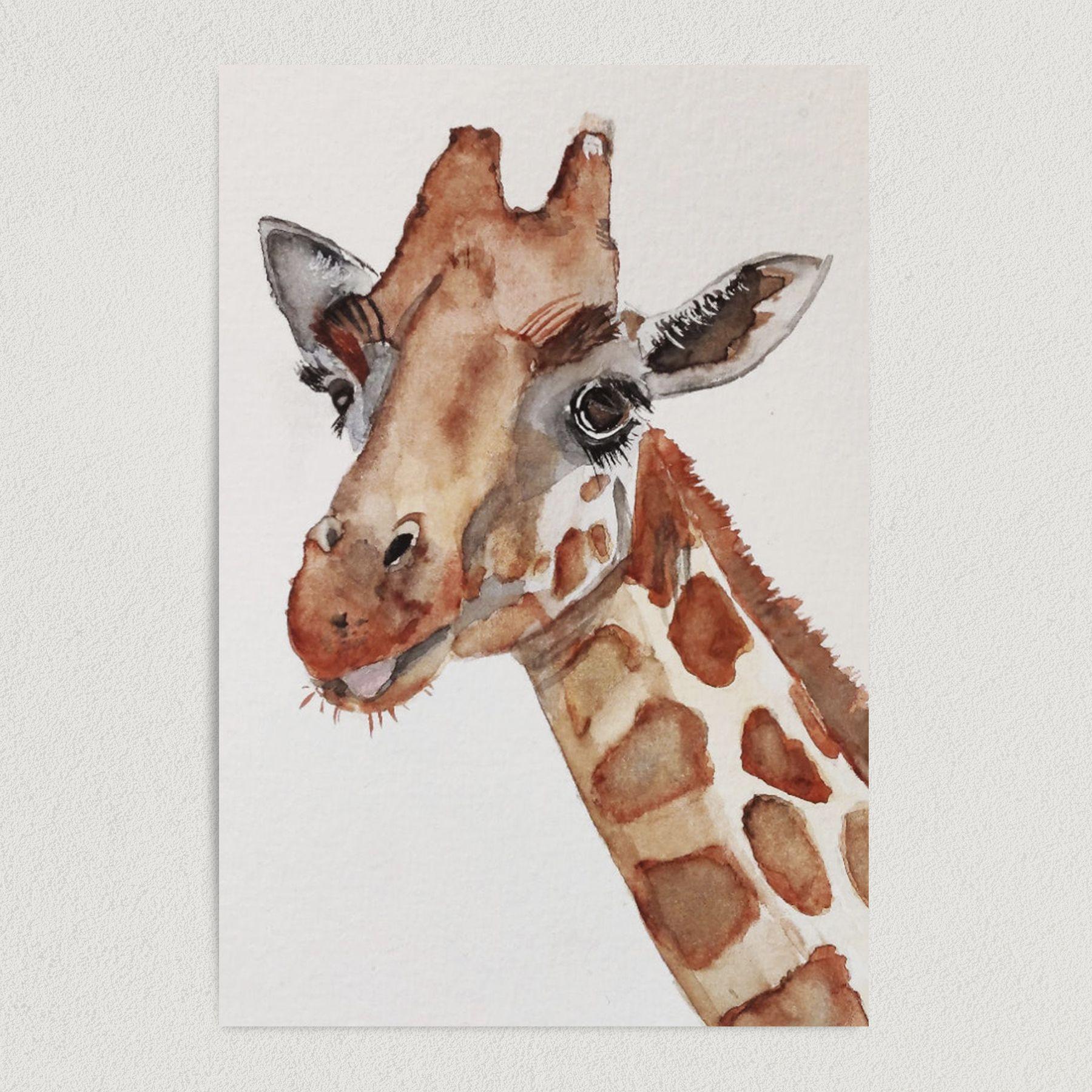 Wild Giraffe Water Painting Art Print Poster 12″ x 18″ Wall Art NO2300