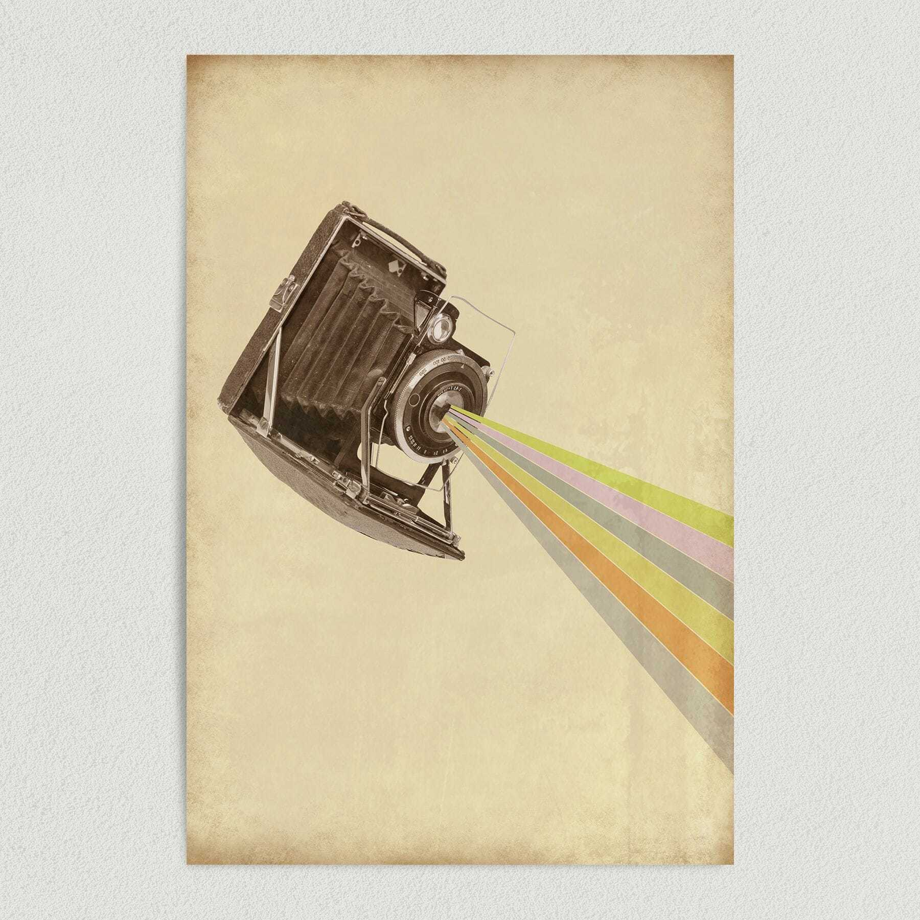 Rainbow Bursts From Vintage Camera Art Print Poster PH1010