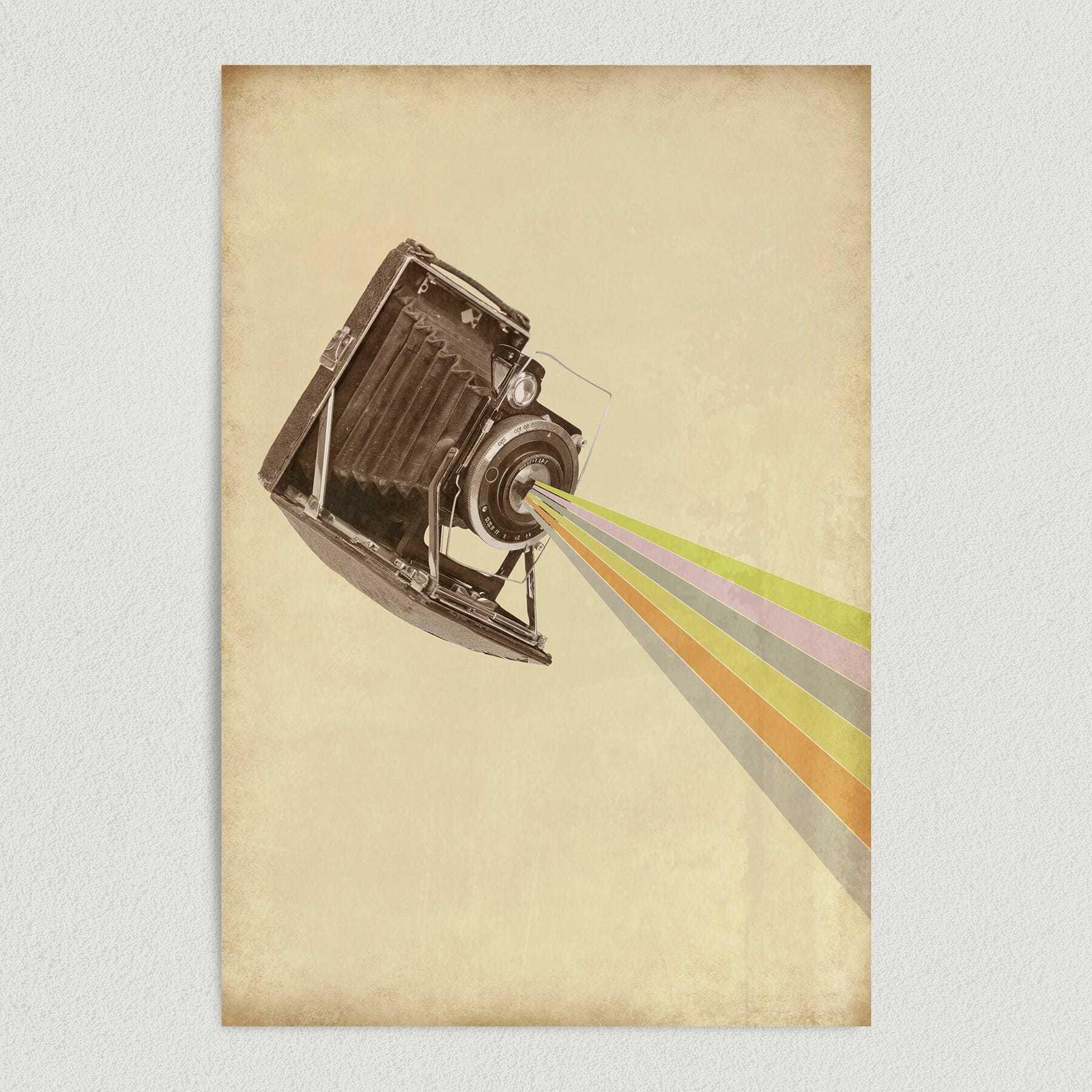 Rainbow Bursts From Vintage Camera Art Print Poster PH1010