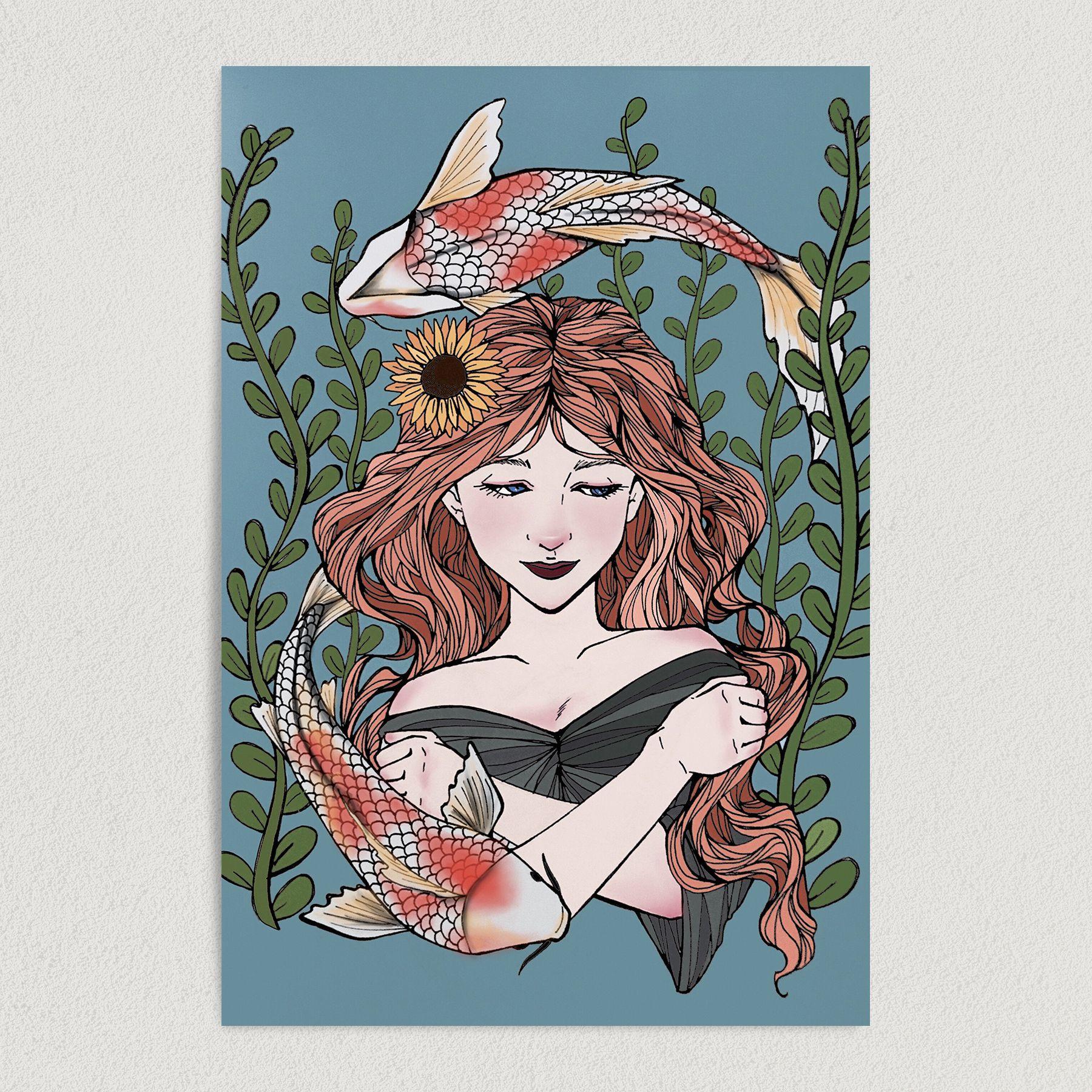Pisces Horoscope Woman Astrology Art Print Poster AO1001