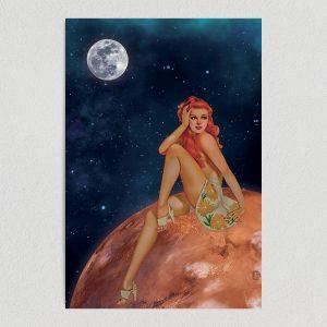 pin up girl sunbathing on mars art print poster template
